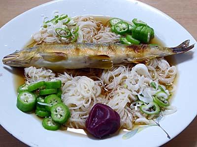 南関素麺で鮎素麺
