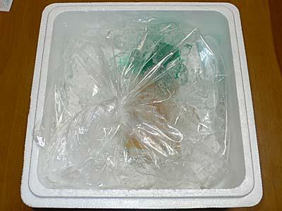 氷づけで発泡スチロールに入った牛乳瓶入り生ウニ